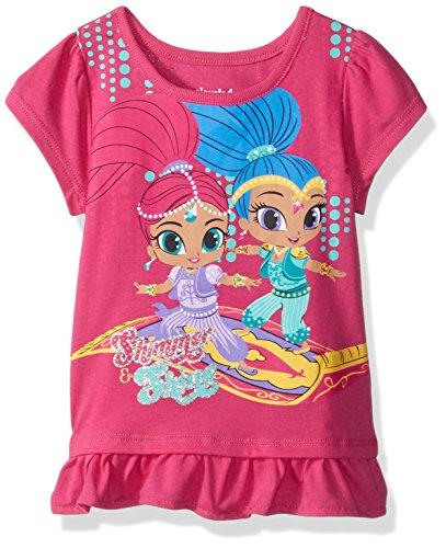 Nickelodeon Girls' Little Shimmer and Shine Short Sleeve tee Shirt, Pink, 6