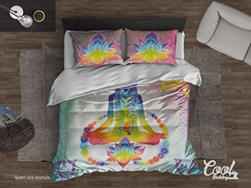 Cool Bedding de cama diseño de yoga Lotus Funda de edredón o Comforter Set 3o 4pcs, Yoga, estilo Juego de ropa de cama, dibujado a mano Yoga ropa de cama, Multicolor