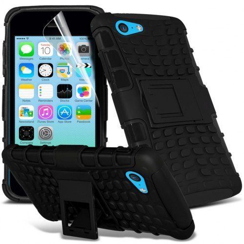 Apple iPhone 5c Shockproof Case Cover (Black) Plus Free Gift, Screen Protector and a Stylus Pen, Order Now Best Valued Phone Case on Amazon! By FinestPhoneCases