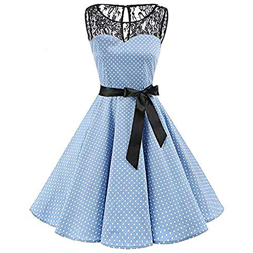 Print Bodycon Belt Sleeveless Casual Flared Hem Lace Evening Prom Swing Long Dress Light Blue ()