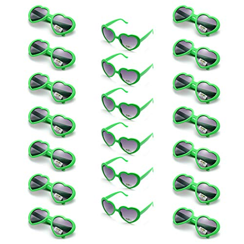 Onnea 20 Pieces Per Case Wholesale Heart Shaped Neon Color Sunglasses for Party Supplies,100% UV Protection (20-Pack Green)]()
