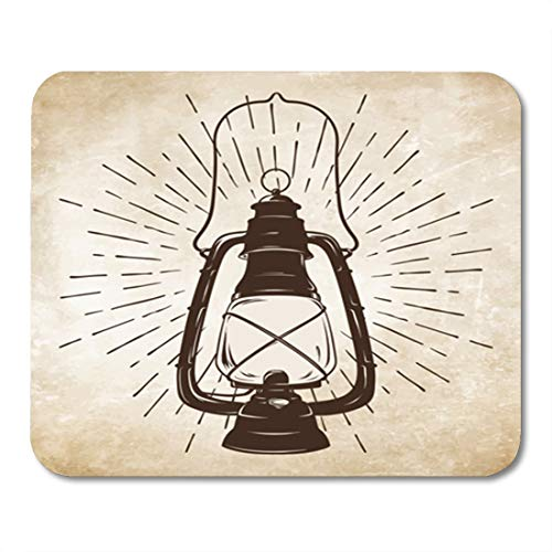 - Semtomn Gaming Mouse Pad Antique Sketch Vintage Oil Lantern Kerosene Lamp Rays 9.5