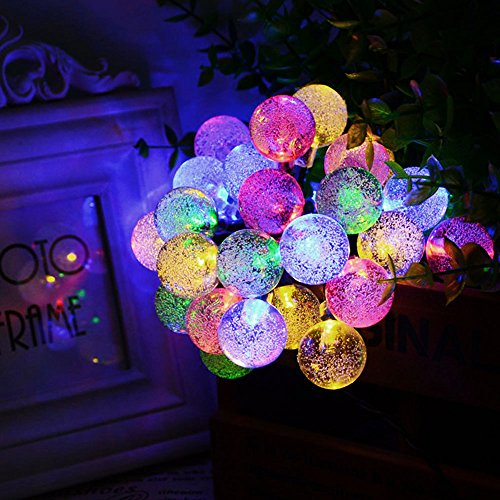 Solar String Lights 20 ft 30 Led Globe Crystal Multicolor Waterproof Multi-mode Bright Bubble Ambiance Lights Decorative for Outdoor Garden Patio Bistro Christmas Party Wedding Holiday (Multicolor) by Useber (Image #9)