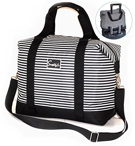 Travel Weekender Shoulder Carry-On Duffel Tote Bag (Black & White Stripes)