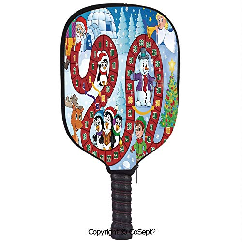 Neoprene Pickleball Paddle Cover,Christmas Themed Composition with Santa Claus Cartoon Angel Snowman Penguins Elf,Fit for Most Rackets and Protect Your Paddle(8.26x11.61 inch) Multicolor ()