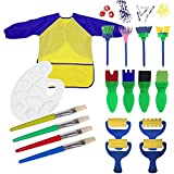 Seal Stamp Paint Sponges for Kids, 18 PCS Fun Paint Brushes for Toddlers Coming with Sponge Brush Flower Pattern Brush Brush Set Long Sleeve Waterproof Apron with 3 Roomy Pockets