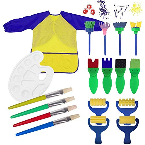 Seal Stamp Paint Sponges for Kids, 18 PCS Fun Paint Brushes for Toddlers Coming with Sponge Brush Flower Pattern Brush Brush Set Long Sleeve Waterproof Apron with 3 Roomy Pockets by PROKTH