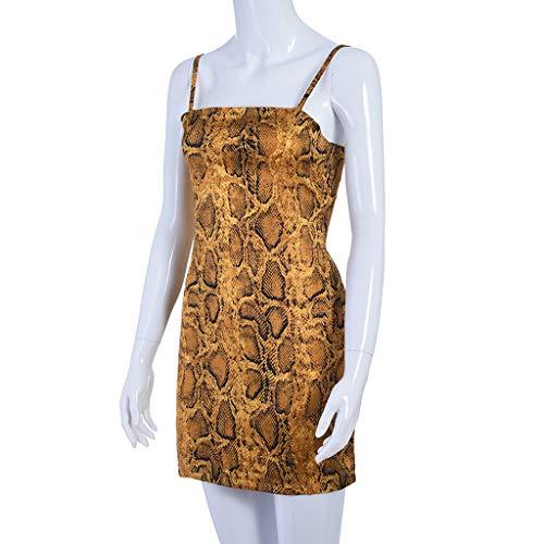 Womens con Sexy Summer senza Casual maniche Felpa Sundress leopardata Gonna Coffee Fashion Bretelle Smileq stampa 45wRY4