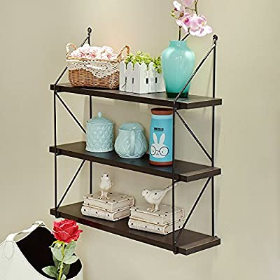WELLAND 3-Tier Display Wall Shelf Storage Rack Wall Rack Holder Rack, Espresso - Contemporary paint finish floating shelf made of Solid Pine Wood Special design of one transverse groove to display phone frames Crown molding curved line adds a sense of the perfect combination of modern and retro style - wall-shelves, living-room-furniture, living-room - 51oLmQw9d5L. SS400  -