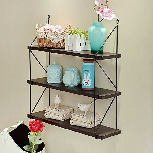 Apartment Size Furniture (WELLAND 3-Tier Display Wall Shelf Storage Rack Wall Rack Holder Rack, Espresso)