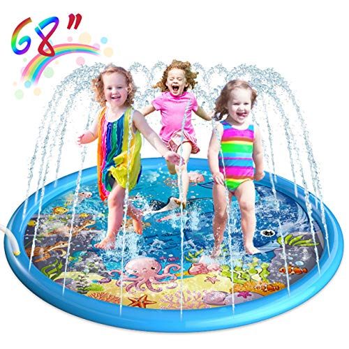 🥇 Homga 68″ Sprinkler for Kids Outdoor Sprinkler Pad Mat for Infants Toddlers-Inflatable Baby Swimming Pool Backyard Play Mat for 1-12 Years Old Girls Boys