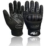 New Motorbike Riding Gloves Full Finger Motorcycle Sports Mountain Bike Protection Summer Gloves Black-Black 9001