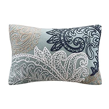 INK+IVY Kiran Embroidered Cotton Lumbar Throw Pillow