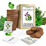Herb Garden Starter Kit (Indoor) Natural, Organic Planting | Pots, Markers, Seed Packets, Soil Mix | Fresh Basil, Cilantro, Parsley, Sage, Thyme | Beginner Friendly