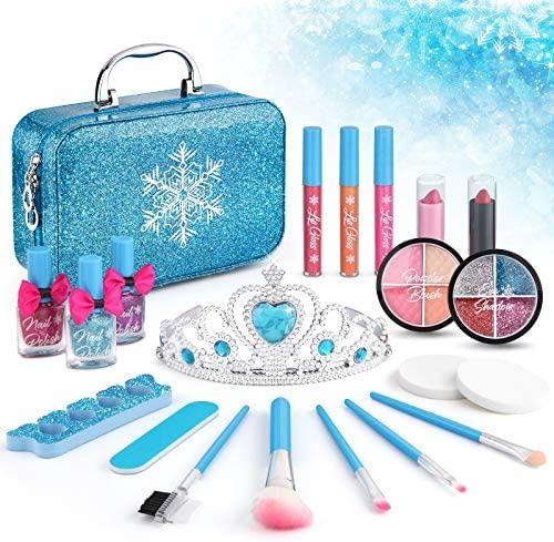 21pcs Kids Makeup Kit for Girls, Kids Play Washable Makeup Set Frozen Toys for Girls, First Princess Little Girls Starter Kit Real Makeup Cosmetic Beauty Set Toys for three 4 5 6 7 8 9 10 Year Old Girls