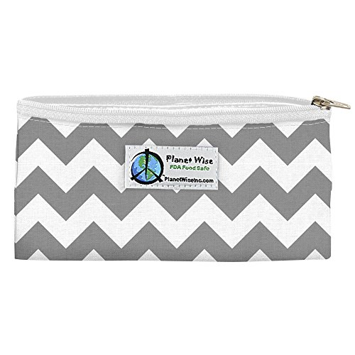 Planet Wise Reusable Zipper Sandwich and Snack Bags, Snack, Gray Chevron