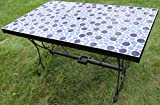 Rectangle Concrete Patio Dining Table - Blue Mosaic
