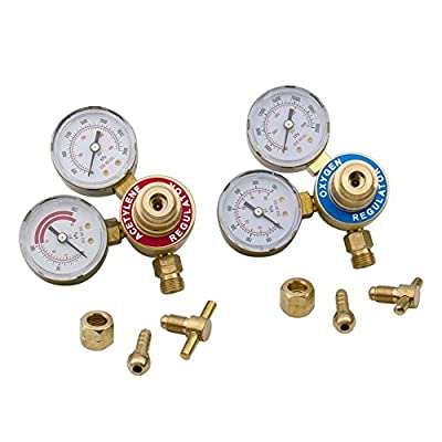 Bang4buck Set of 2 Solid Brass Oxygen O2 02 & Acetylene Regulators 4 Weldings Fit Victor Gas Torch Cutting