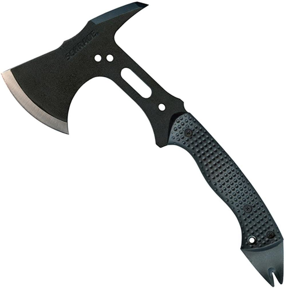A black tactical axe with carbon steel blade, and a nylon fiber handle.