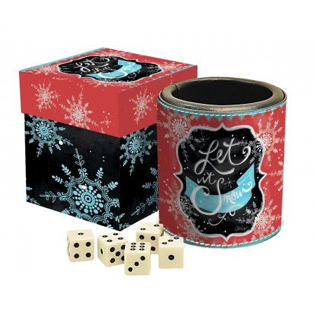 "LANG - Dice Cup and Dice - ""Winter Magic"" - Art by LoriLynn Simms - Official Size Dice/Cup - Lined, Padded Cup w Storage Box"
