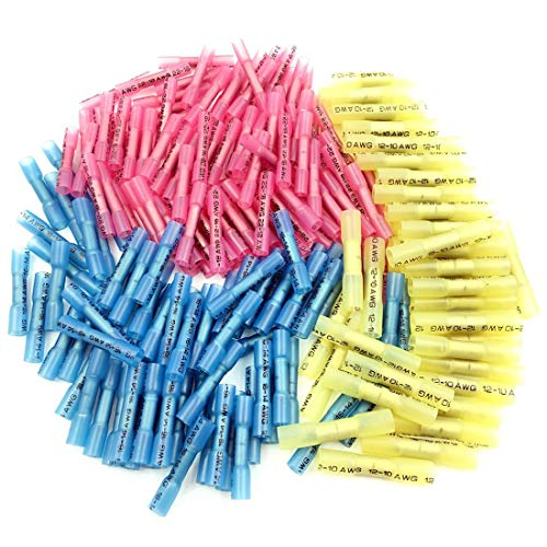 218pcs Heat Shrink Wire Connectors, Sopoby Electrical Wire Crimp Connector Kit Insulated Waterproof Marine Automotive Grade Wire Terminals Kit 22-10GA(100Red 70Blue 48Yellow)