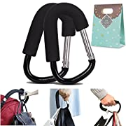 (Pack of 2) Extra Large Stroller Hooks, Mini-Factory Multi-Purpose Gift Packing Hanger Hooks for Diaper, Shopping Bags, Purses - Black