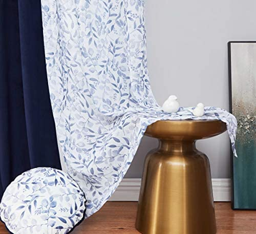 Living Room Curtain 95 inch Extra Long Navy Blue Elegant Room Darkening Drapes 4 Sets Mix and Match Velvet Panel