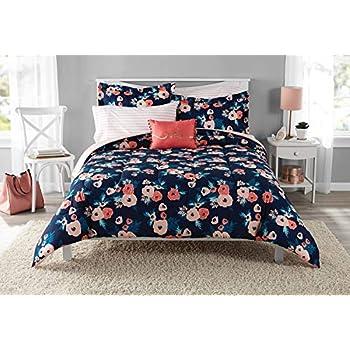 Amazon Com Dp 6pc Navy Blue Pink Garden Flowers Theme