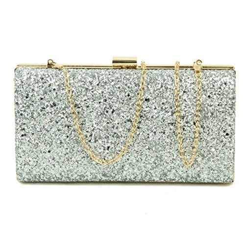 Glitter Evening Ladies Womens Silver Dressy Clutch Occasion Hand Hardcase O43 Party Prom Bags fqCaC