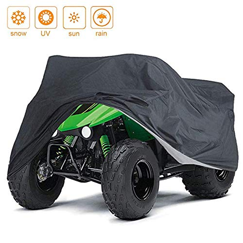 - NEVERLAND Waterproof Heavy Duty ATV Cover, for Polaris Predator Yamaha Raptor Honda TRX Kawasaki KFX Wheel Car Black 57.09x33.46x38.58 inch