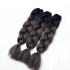 3pcs Black Jumbo Braiding Hair Extensions Black Kanekalon Braids Hair Box braid hair 24 Inches 100g/pc(3pcs,Black)