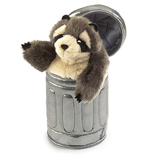 Folkmanis Raccoon In Garbage Can Hand Puppet by Folkmanis