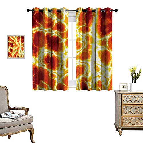 Yellow Sapphire Heated - Burnt Orange Window Curtain Fabric Hot Burning Lava Texture Bursting Fire Flames Volcanic Heated Magma Image Drapes for Living Room W72 x L63 Orange Yellow