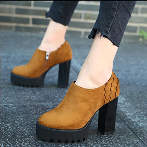 Short Waterproof Zipper Of And Korean Bare With The Edge Boots Thick Wavy With Women Console Side Ultra Version The High Brown KHSKX New Round Winter 11Cm Autumn Head 36 Boots Boots The 7nwSxZ5n1