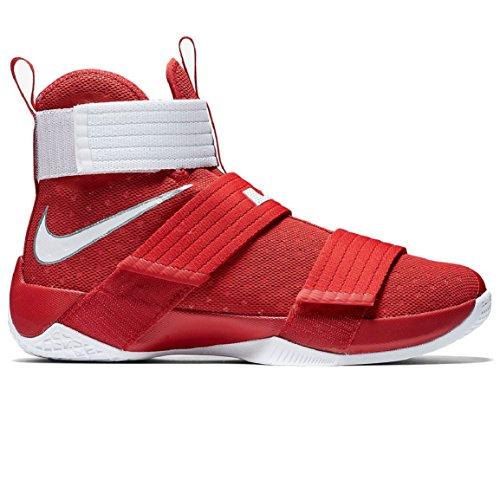 Nike Lebron Soldat 10 Hommes Chaussures De Basket-ball Université Rouge / Argent / Blanc