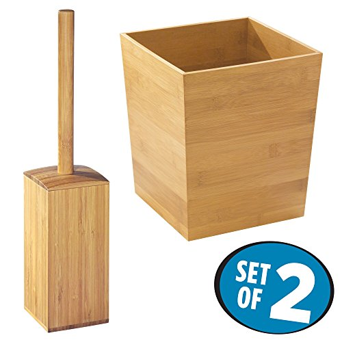 mDesign Bathroom Toilet Bowl Brush and Wastebasket Trash Can