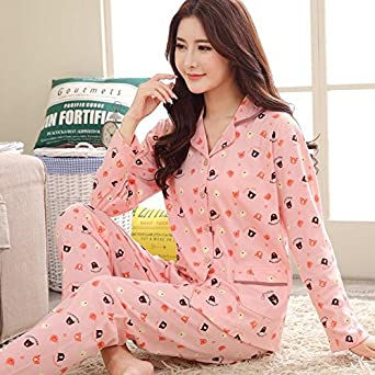 MH-RITA Women Autumn Winter Pajamas Soft Comfortable Printing Home Suit Women Cotton Pyjama Sleepwear