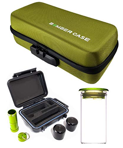 - BOMBER CASE - Pax 2 & 3 Deluxe Kit with Large Locking Odor Proof Storage Case, Mini Smell Proof Carry Case, Glass Herb Jar, Bumper End Caps, Aluminum Material Bottle, Locking Zipper (Green)