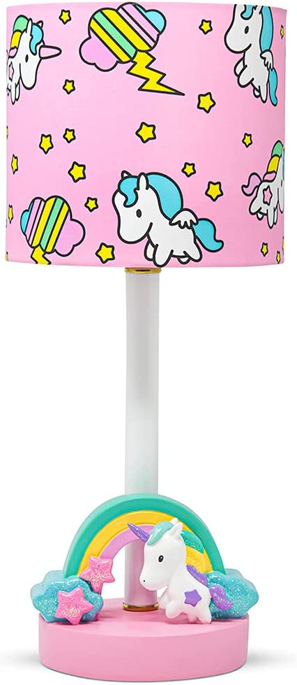 DAUGHTERS LIST Unicorn Lamp, Rainbow Lamp, Unicorn Bedroom Decor for Girls - Cute, Pink, and Hand-Painted
