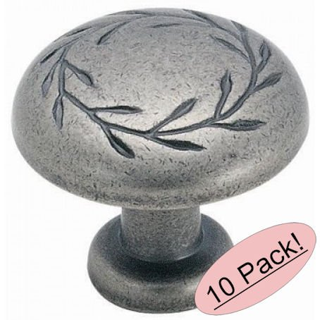 Amerock BP1581-2-WN Inspirations Leaf Oversized Weathered Nickel Cabinet Hardware Knob - 1-3/4