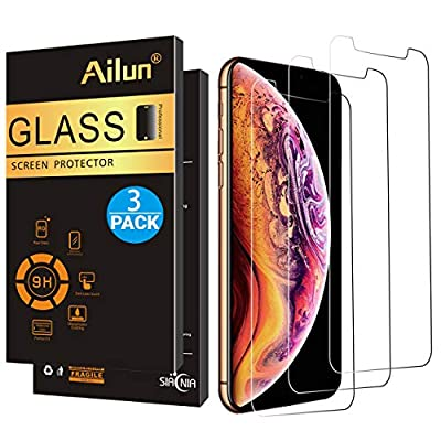AILUN Screen Protector Compatible Apple iPhone Xs Max (6.5 inch 2018 Release),[3 Pack],0.33mm Tempered Glass Anti-Scratch,Advanced HD Clarity Work Most Case