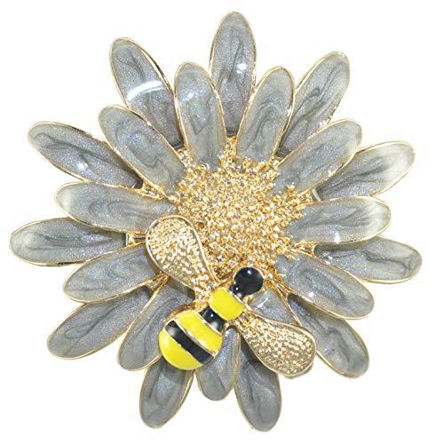 (Gyn&Joy Vintage Golden Tone Grey Enamel Daisy Flower Queen Bees Insect Pin Brooch Collar Pin BZ182G)