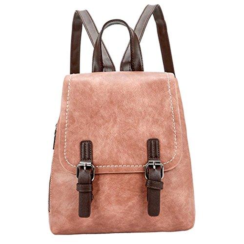 Anxinke Women Girls Retro PU Leather Packsack Casual Backpack Bag (Brown) by Anxinke