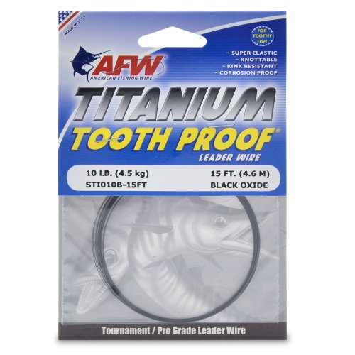 American Fishing Titanium Tooth Proof Single Strand Leader Wire, Black, 10-Pound Test/15-Feet ()