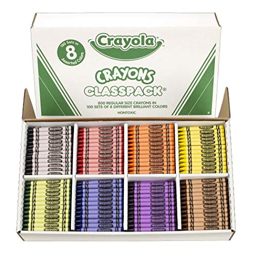 Crayon Assortment - Crayola BIN528008 Crayon Classpack, Regular Size, 8 Colors, Pack of 800