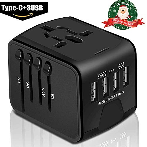 Universal Travel Adapter - Whzld International Travel Power Adapter W/High Speed 2.4A USB, 3.0A Type-C Wall Charger, Adapter Travel Power Adapter Wall Charger for UK, EU, AU, Asia Covers 220+ -