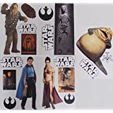 "Star Wars FATHEAD Set of 18 Vinyl Wall Graphics Re-Usable and Removable Decals: Chewbacca, Han Solo Carbonite, Lando Calrissian, Princess Leia Bikini, Jabba the Hutt (Main Graphics 7"" INCH EACH)"