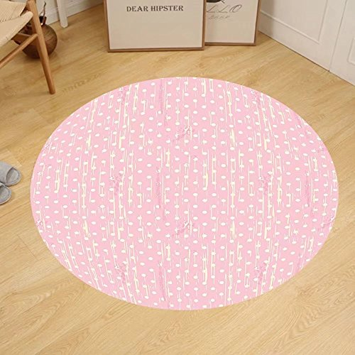 Gzhihine Custom round floor mat Grunge Romantic 60s 50s Retro Pop Art Inspired Polka Dots on Abstract Backdrop Bedroom Living Room Dorm Light Pink and - Grunge 50s