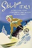 GIRL SKI DOWNHILL SKIING FUN IN LA THUILE LIVIGNO CERVINIA DIMARO ITALY ITALIAN WINTER SPORT TRAVEL 16'' X 24'' PAPER VINTAGE POSTER REPRO