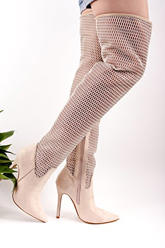 LOLLI COUTURE SUEDE MATERIAL FISH NET POINT TOE LOOK ELASTIC SIDE ZIPPER DESIGN OVER THE KNEE STILETTO HIGH HEELS BOOTS SHOES Beige-m48-4 dMErBT